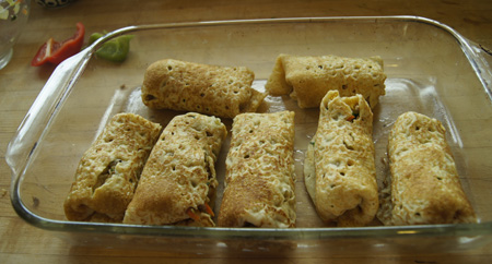 egg roll crepes in pan