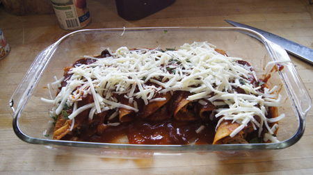 cheese on enchiladas