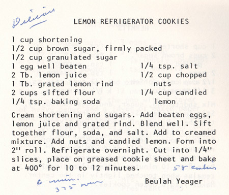 Lemon Refrigerator Cookies recipe