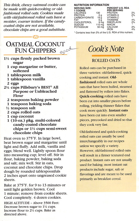 Oatmeal Coconut Fun Chippers original recipe