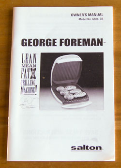 George Foreman Grill instructions Cookbook
