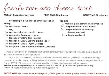 Fresh Tomato Cheese Tart recipe