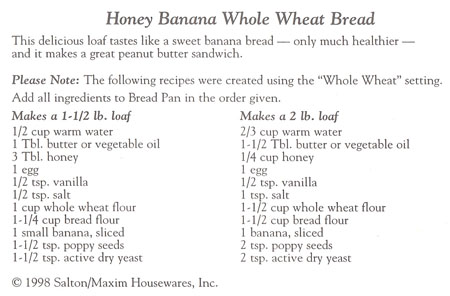 Honey Banana Whole Wheat Bread recipe
