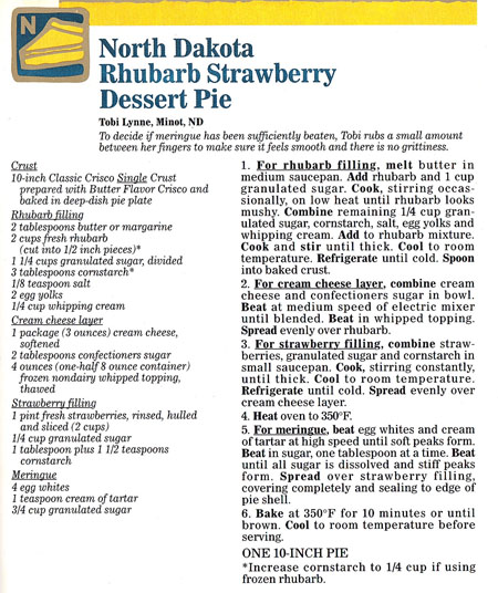 Rhubarb Strawberry Dessert Pie