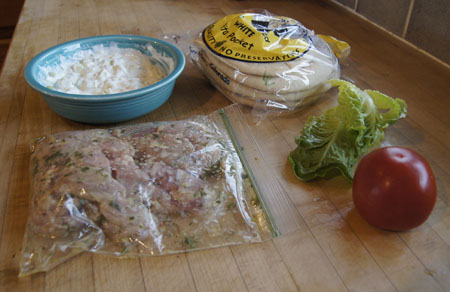 Pita Sandwich ingredients
