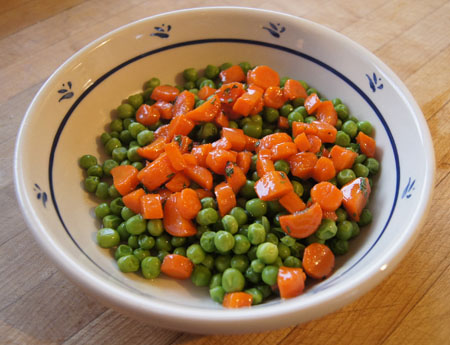 Glazed Carrots with Mint and Peas