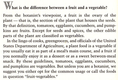 fruits vs vegetables