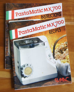 Pasta Matic MX700 cookbook