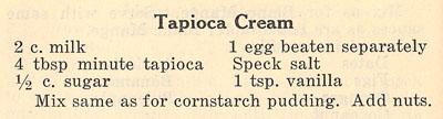 Tapioca Cream recipe