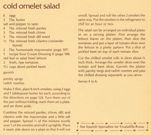 Cold Omelet Salad recipe