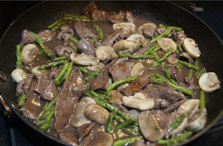 Steak, Mushroooms, and Asparagus
