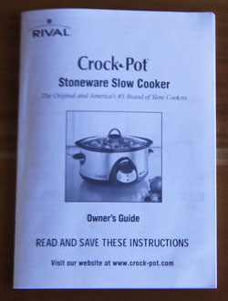 Crock-Pot Stoneware Slow Cooker cookbook